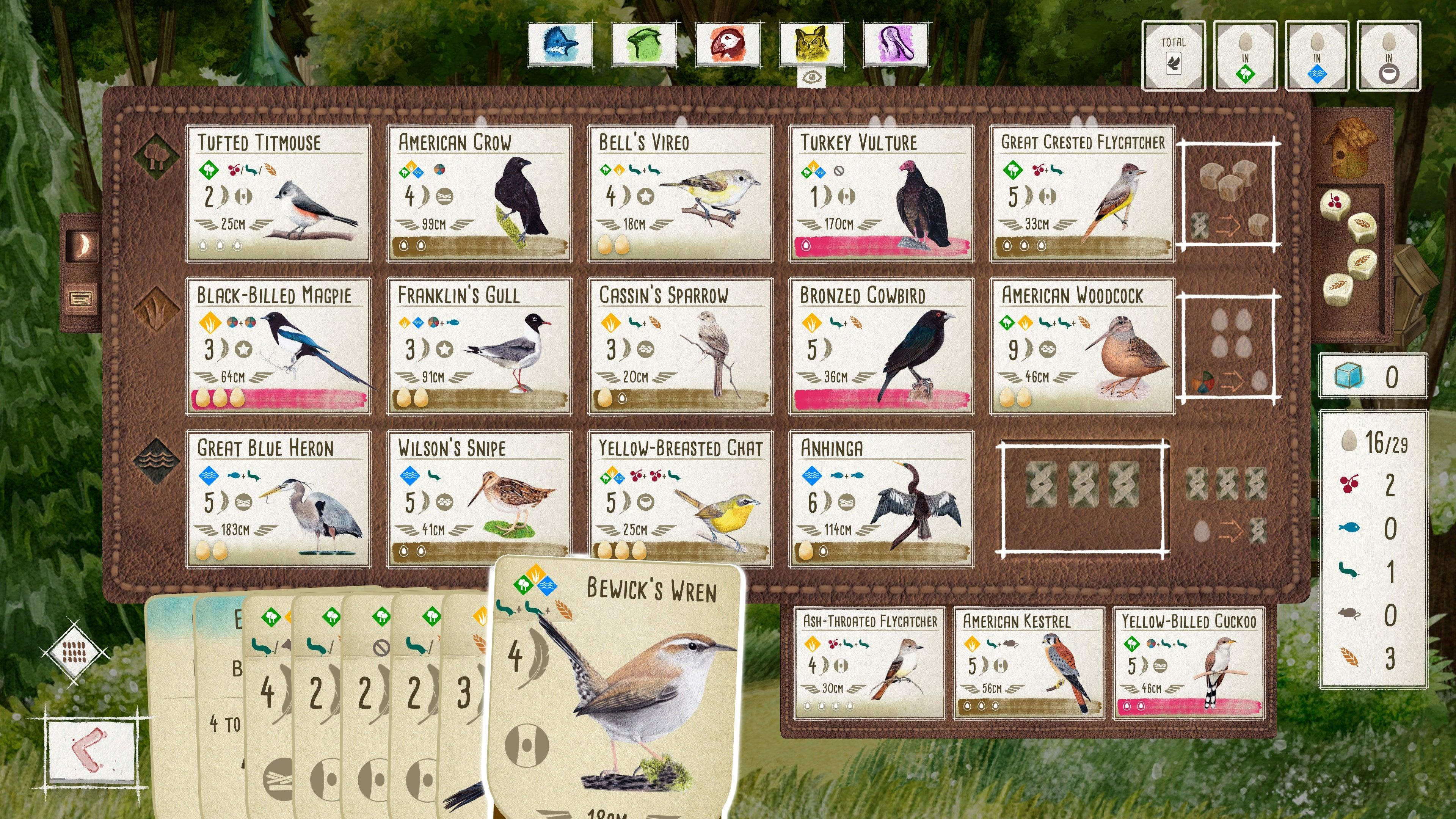 Screenshot of Wingspan